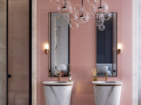 """Дизайн интерьера ванной в Челябинске """"Розовые стильные ванные комнаты"""""""